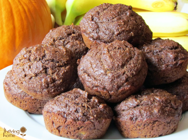 Whole Wheat Chocolate Pumpkin Banana Muffins