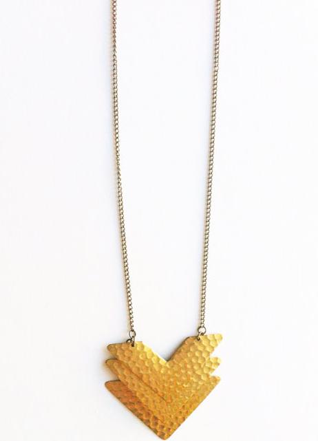 brass chevron necklace