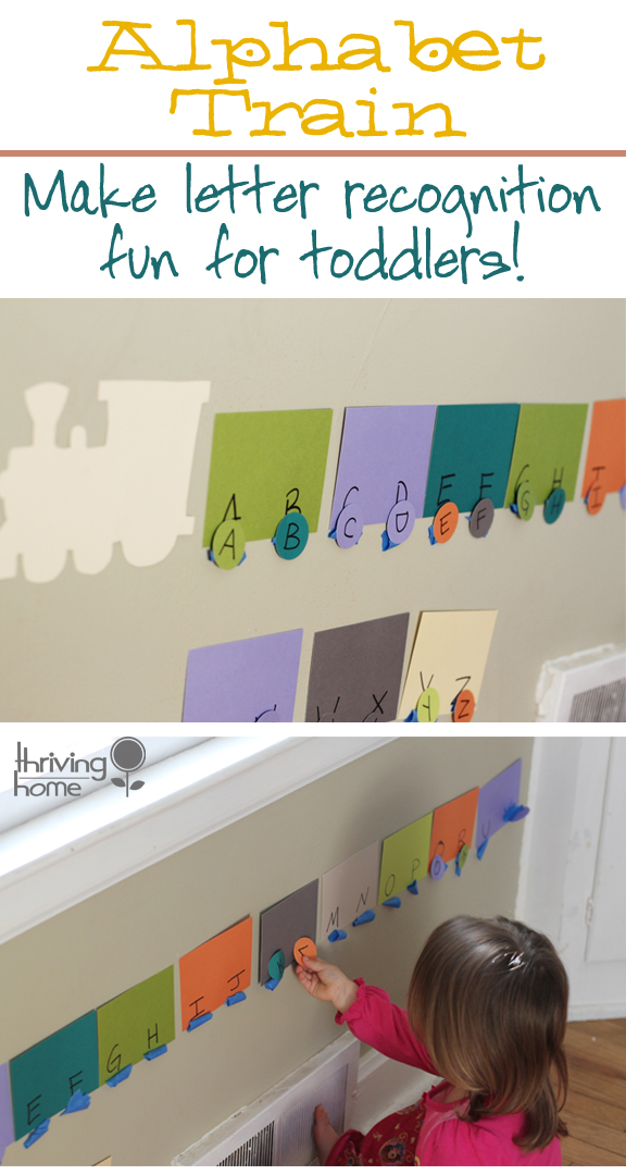 Alphabet Train. Great DIY learning activity for preschoolers!
