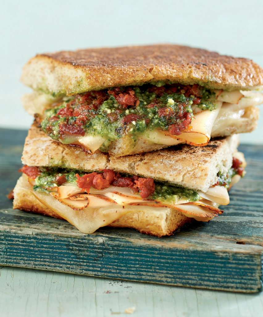 Freezer Friendly turkey pesto paninis stacked