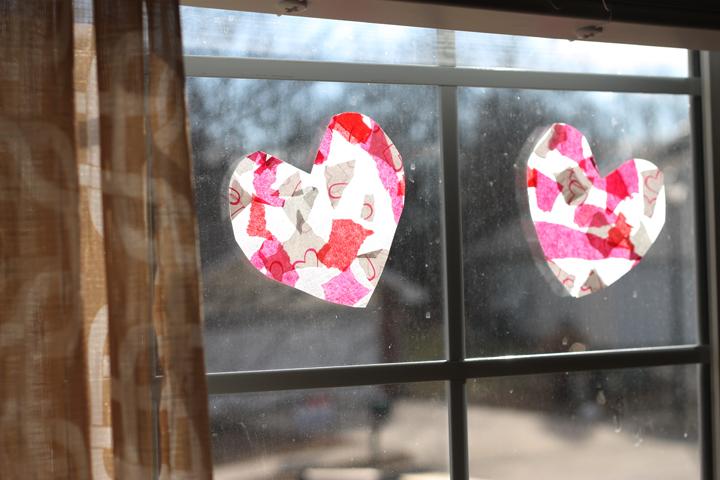 Valentine hearts in the window.