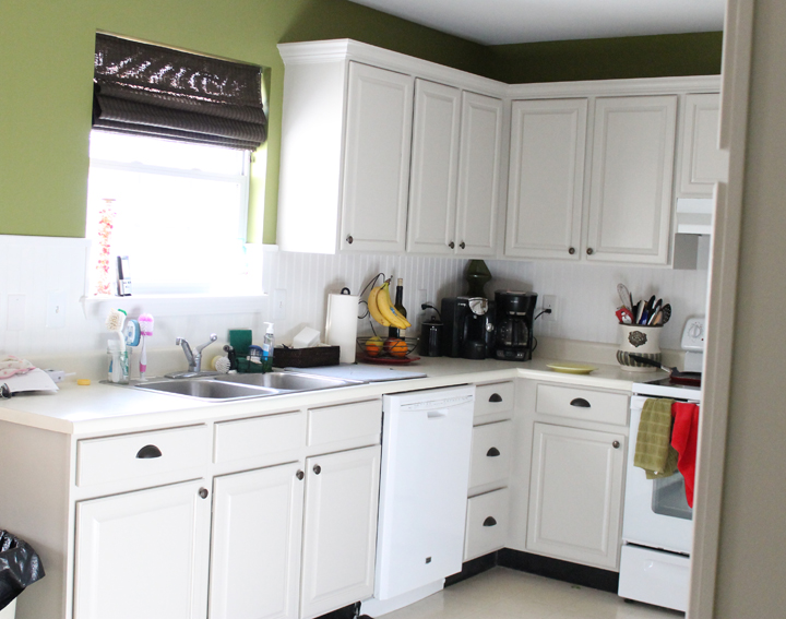 painting oak kitchen cabinets white before and after painting oak cabinets thriving home 9880