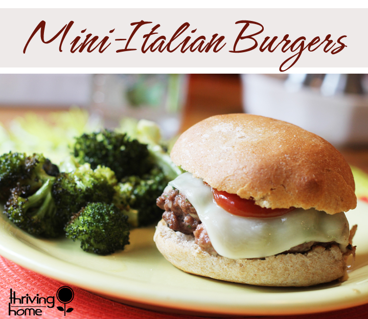 Mini Italian burgers with broccoli on the side