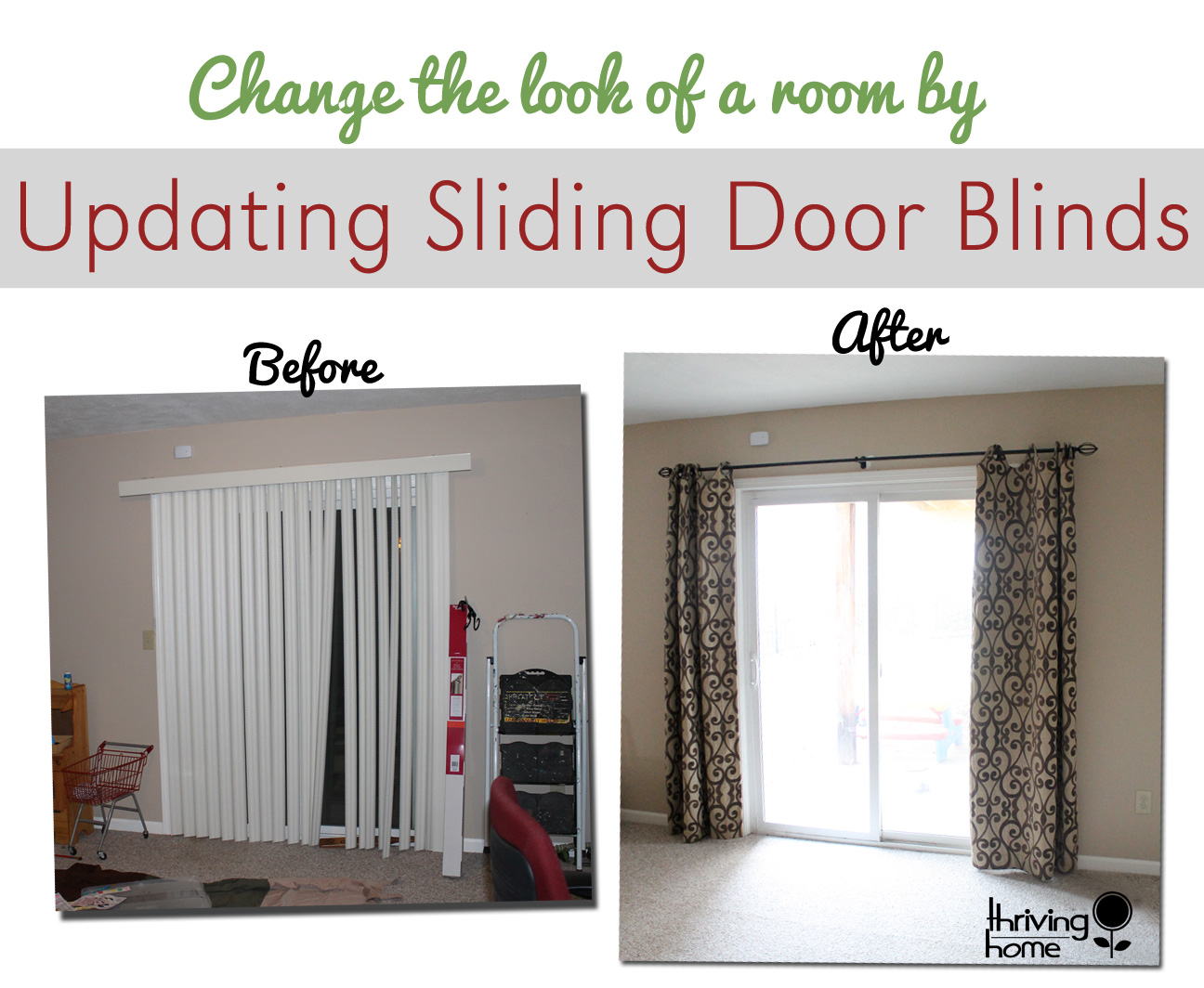 An easy way to update a sliding door blind thriving home - Sliding back door curtains ...