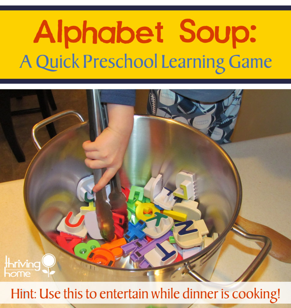 "While making dinner, let your preschooler make some ""alphabet soup"" at the counter. Here's how we play this super simple letter sounds game..."