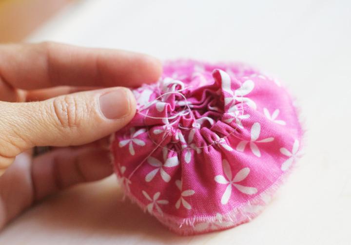 back side of fabric flower