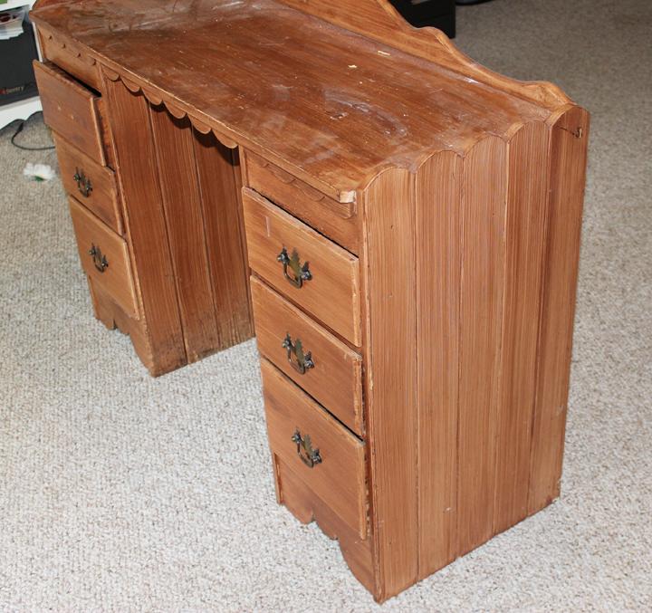 desk before glidden paint