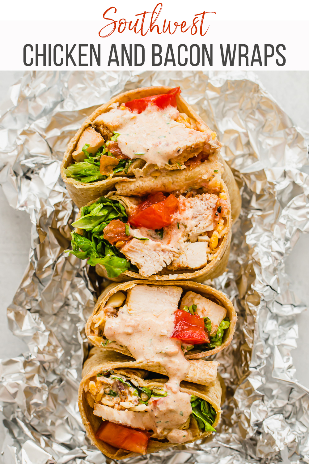 Southwest chicken and bacon wraps. Such a great, healthy dinner idea. I love serving this meal when we have people over because people can customize it. Also a great freezer meal! | Thriving Home #freezermeal