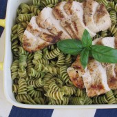 Chicken Pesto Pasta (a.k.a. Green Alien Pasta)