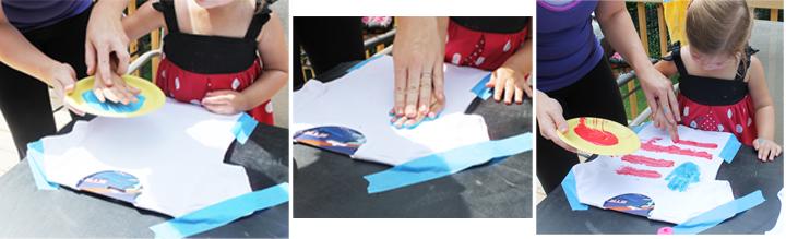 painting hand print shirts