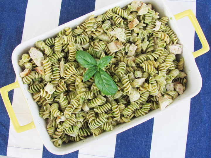 Pesto is one of the most nutrient-dense foods you can eat. Healthy fats from the olive oil and pine nuts and antioxidants from the basil and garlic make this meal a winner.