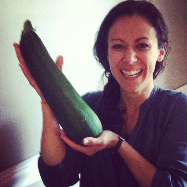 Polly Conner with a zucchini