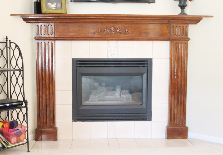 polyshade oak mantel makeover