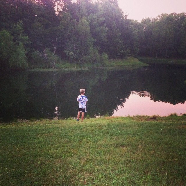 Ah fishing. Ah summer. With my big boy. - Rachel