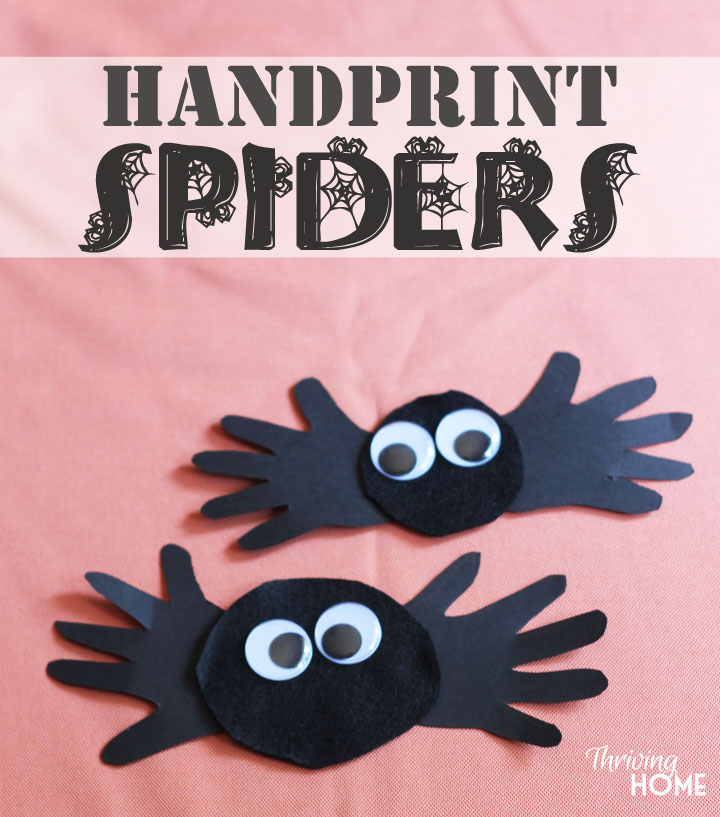 Handprint Spiders Halloween Craft