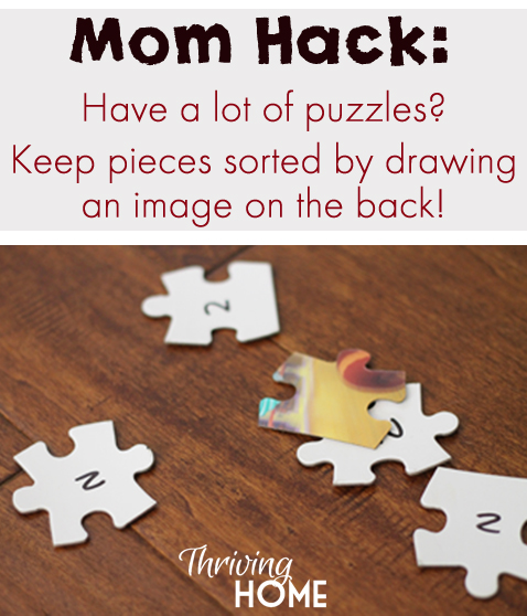 Mom Hack--A great way to keep puzzles organized!