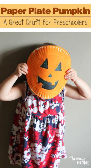 paper plate pumpkin halloween idea
