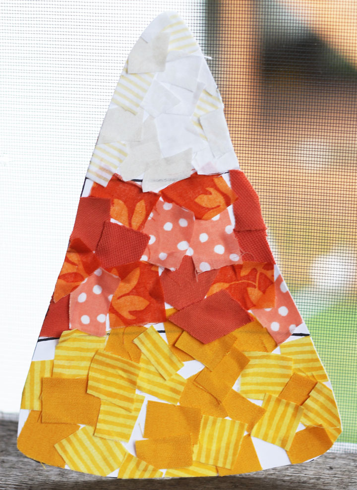 fabric scrap candy corn