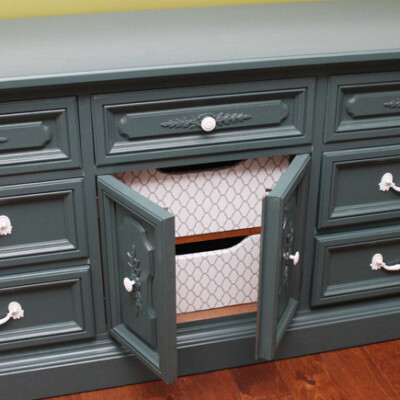 Dingy Dresser Transformed into Kitchen Hutch