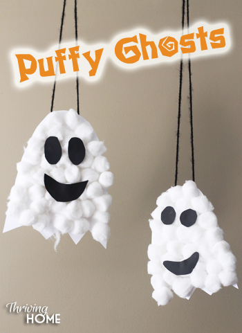 puffy ghosts halloween craft