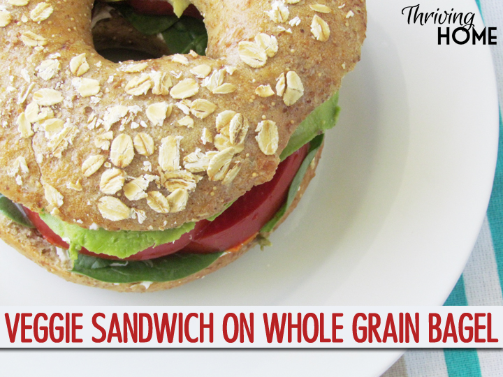 Veggie Sandwich on Whole Grain Bagel