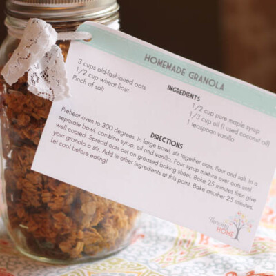 Gift Idea: Granola with Free Printable Recipe Card
