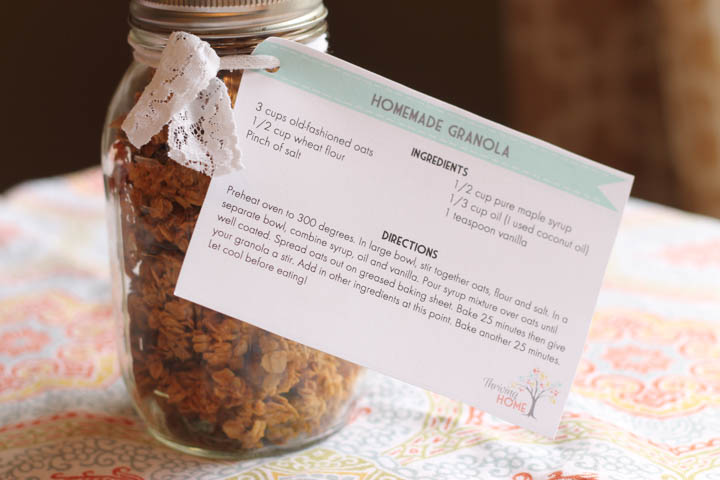 gift idea: granola with free prinable