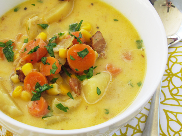 Autumn Chowder Soup recipe. Comfort in a bowl. A great dinner idea for the entire family. Freezer friendly too!   Thriving Home #freezermeal