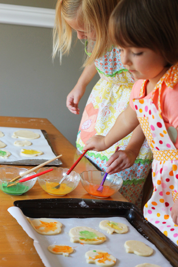 fall activity for kids-painting cookies
