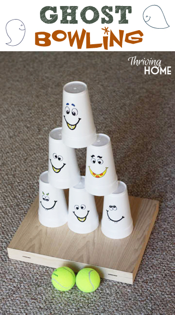 Fun Halloween party game--ghost bowling! Cheap and easy party idea that is great for all ages.