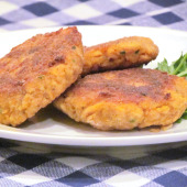 Salmon and sweet potato cakes