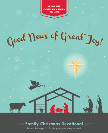 You can make the Christmas story come alive for your children this Advent season! Good News of Great Joy is a simple devotional book that's intended to help your family focus on the story of Jesus' birth, who he is, and why he was sent by God to be with us. The discussion questions and wide range of activities are designed for children ages 2-11.