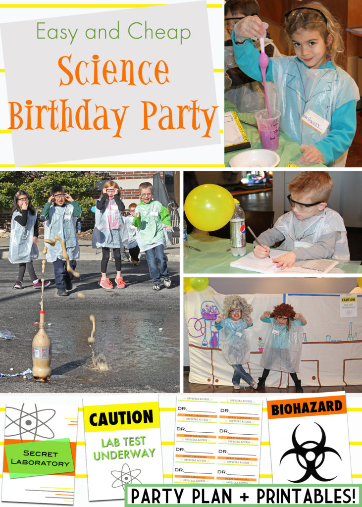 The ultimate guide for the BEST and cheapest science birthday party ever! Detailed party plan, ideas, and printables.