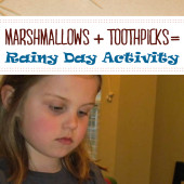 Rainy Day Activity with marshmallows and toothpicks is one of the simplest learning activities for many ages.