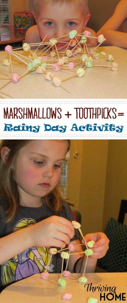 Rainy Day Activity with marshmallows and toothpicks
