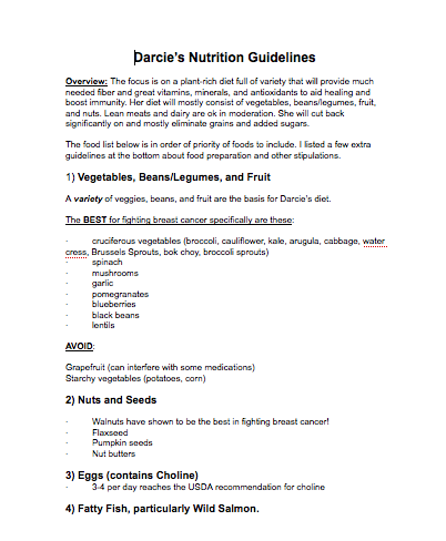 Darcie nutrition guidelines