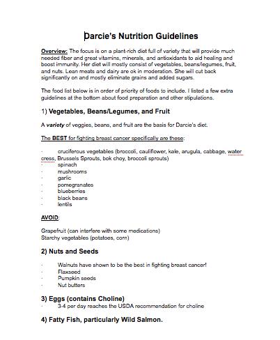 Darcie nutrition guidelines