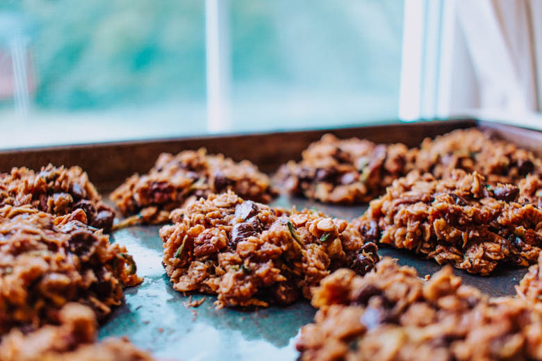Chocolate Chip zucchini breakfast cookie on a sheet pan