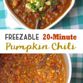 20 Minute Pumpkin Chili {Freezer Meal}