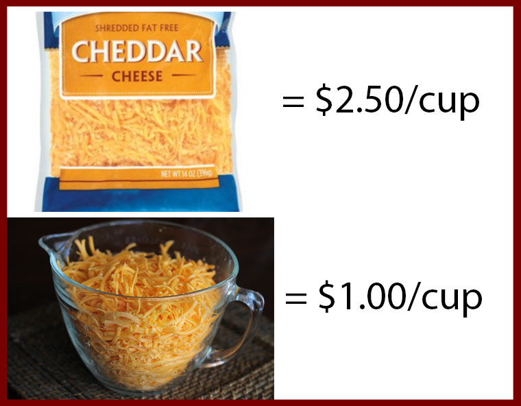 how much you save when shredding your own cheese
