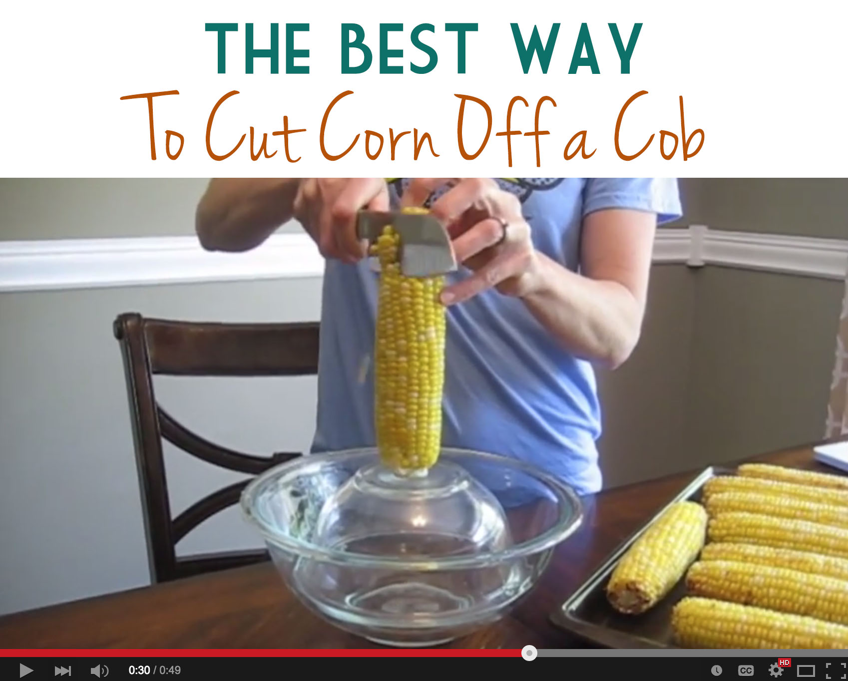 This trick really is the best way to cut corn off the cob, because it saves making a big mess on the counter and floor.