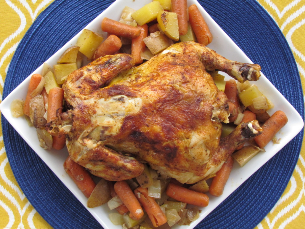Slow Cooker Whole Chicken with Veggies - gluten-free dinner recipe