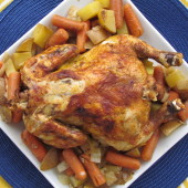 Slow Cooker Whole Chicken with Veggies - An easy and healthy weeknight dinner.