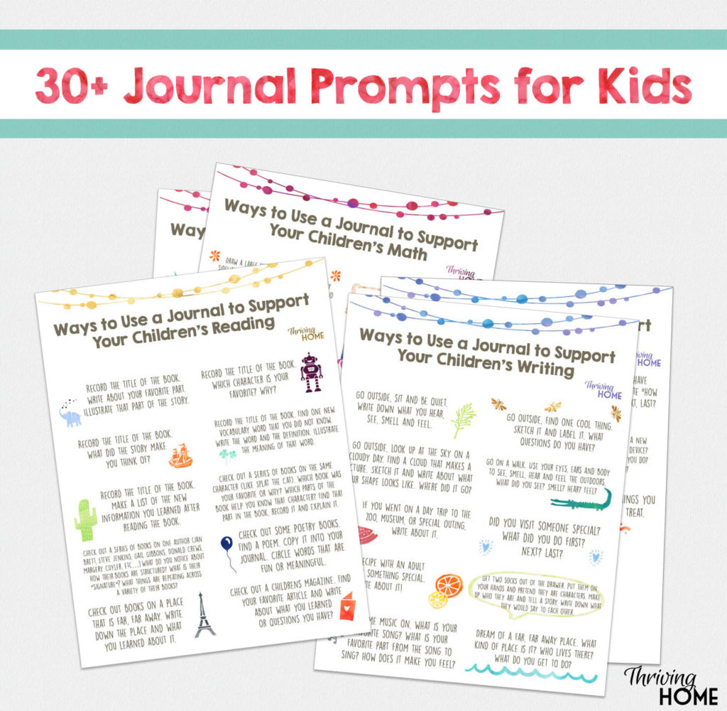free printable of 30+ Journal Prompts for Kids