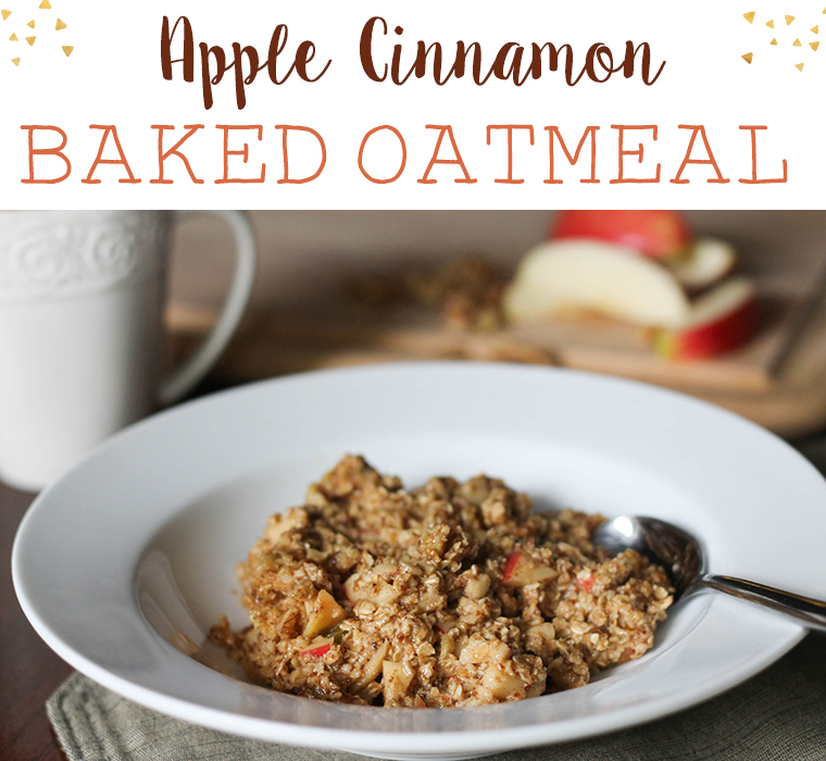 Apple Cinnamon Baked Oatmeal in a white bowl
