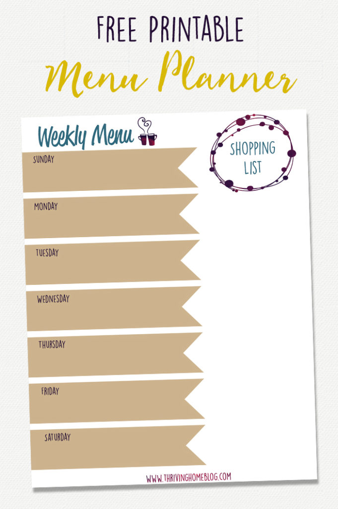 Get this FREE printable menu planner to help you plan ahead to save money, time, and eat healthier! #thrivinghome