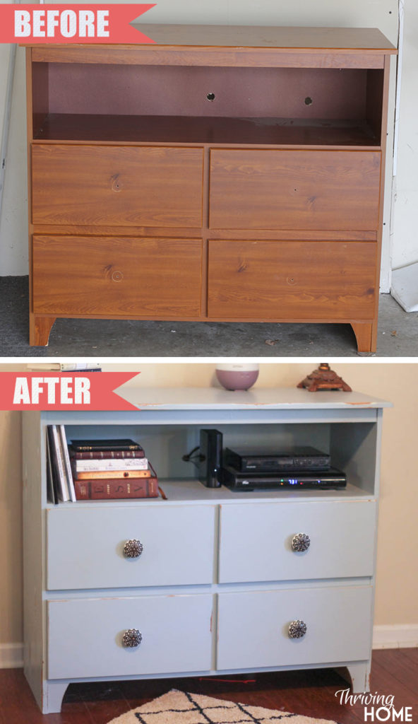 Repurposed changing table into entertainment center