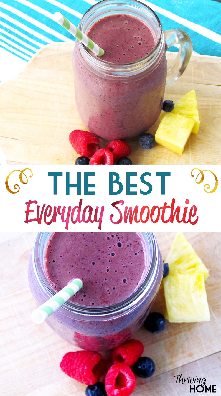 The Best Everyday Smoothie Ever - Our family never gets tired of this delicious combination of juice, milk, fresh spinach, and tons of fruit.