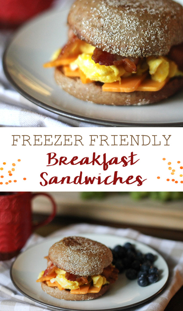Freezer friendly breakfast sandwiches. A great and healthy freezer meal to have on hand for busy mornings.