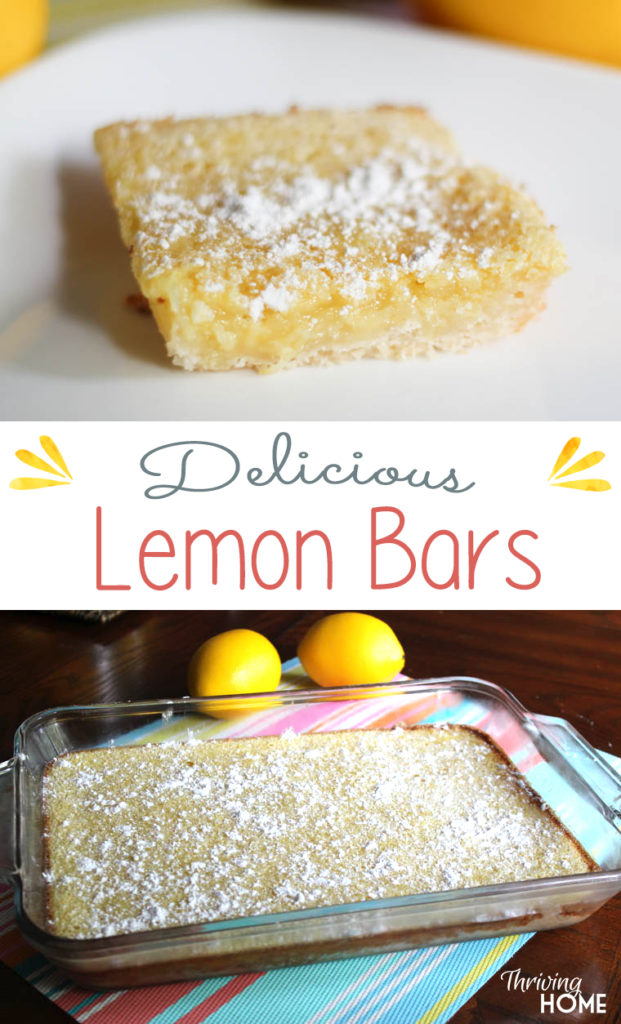 Classic Lemon Bar Recipe. I love this recipe because it has a thicker crust than most. For sure worth a try! | Thriving Home